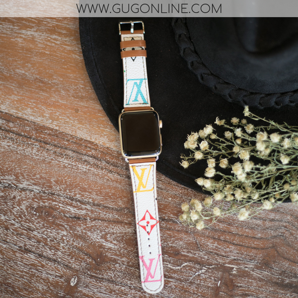 Louis Vuitton Apple Watch Band LV Designer Inspired Genuine Leather Classic Multi Color Colorful Monogram Repurposed