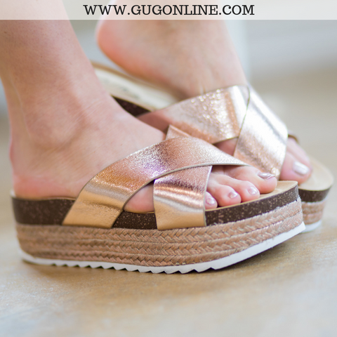 Raised On It Platform Espadrille Sandal in Rose Gold