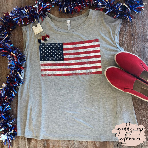 Plus Size | USA Flag Dolman Top in Heather Grey
