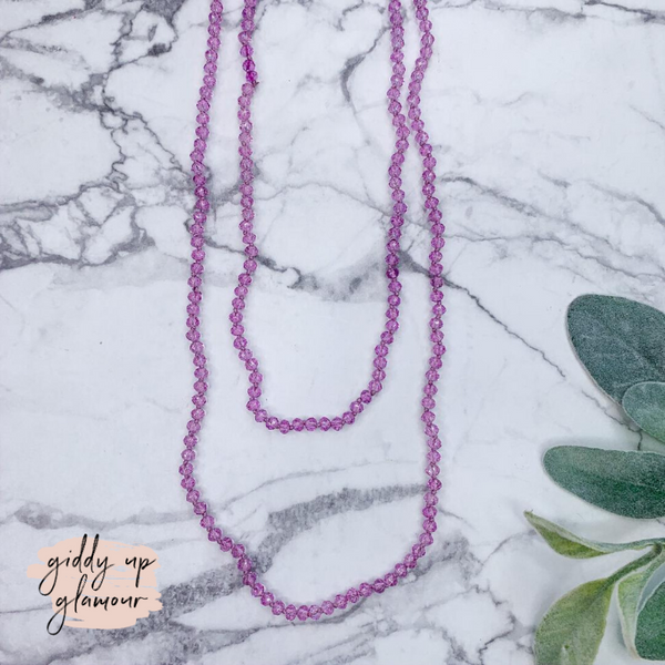 60 Inch Long Layering 6mm Crystal Strand Necklace in Lilac Purple