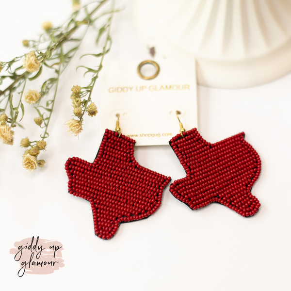 Seed Bead Texas Statement Earrings in Burgundy