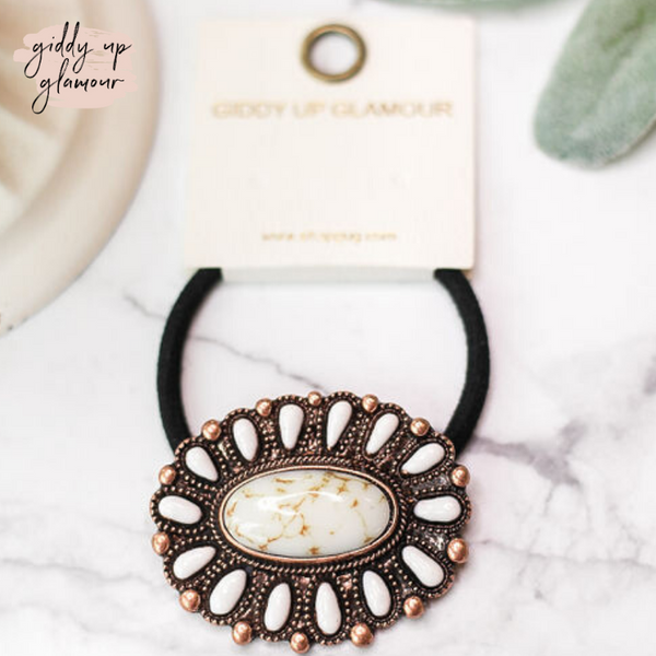 Copper and White Oval Concho Hair Tie