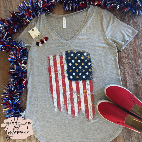 Plus Size | American Flag V Neck Short Sleeve Tee Shirt in Heather Grey