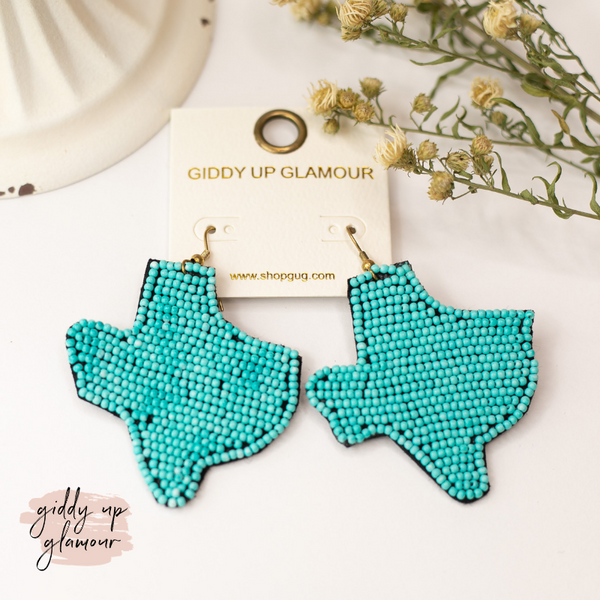 Seed Bead Texas Statement Earrings in Turquoise