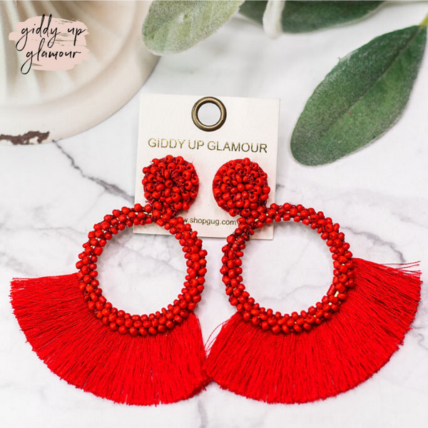 Seed Bead Circle Hoops with Fan Fringe Trim in Red