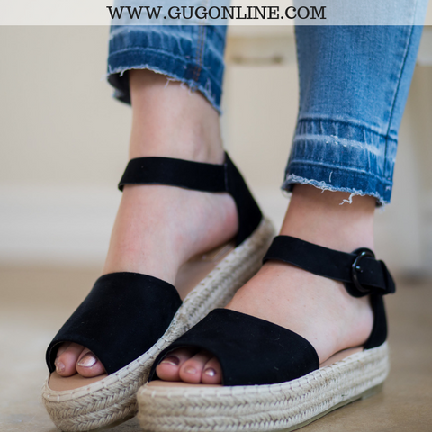 Not A Drille Platform Espadrille Sandals in Black