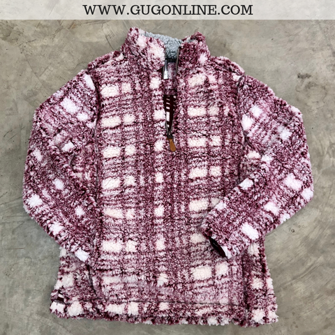 Cuddle Up Plaid Sherpa Pullover in Maroon