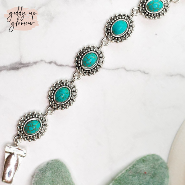 Designer Inspired | Magnetic Bracelet with Silver Concho in Turquoise