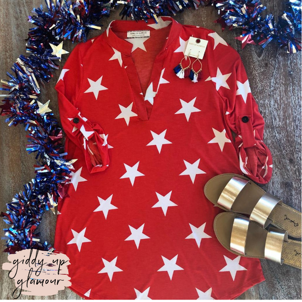 Star Spangled 3/4 Sleeve Star Top in Red