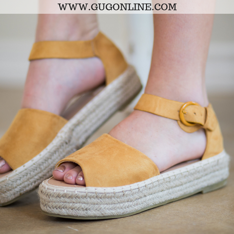 Not A Drille Platform Espadrille Sandals in Mustard Yellow