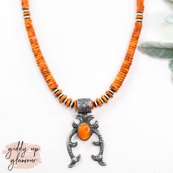Kevin Billah | Handmade Sterling Silver Navajo Pearl & Orange Spiny Oyster Necklace with Naja Pendant