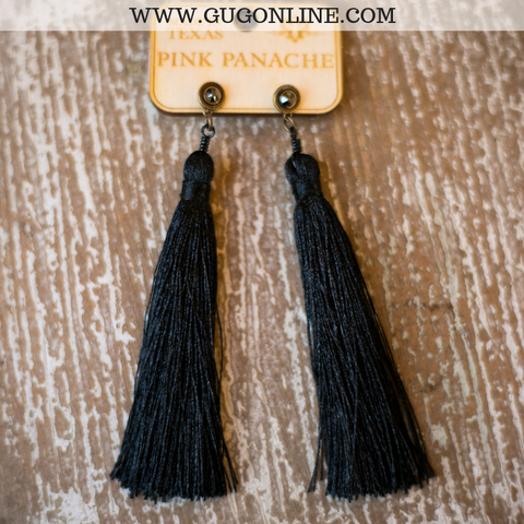 Pink Panache Black Tassel Earrings with Black Crystals