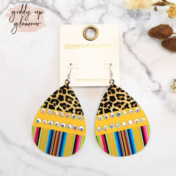 Color Block Teardrop Earrings With Leopard and Serape in Yellow