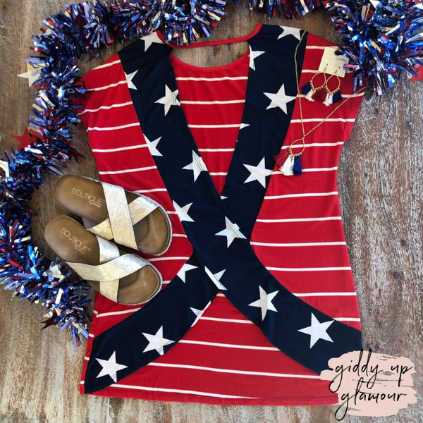 Baby You're A Firework Stripe Short Sleeve Top with Star Print Open Back in Red