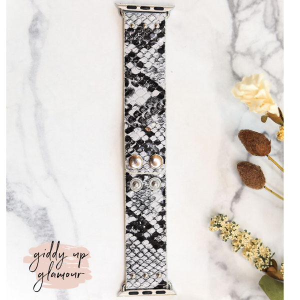 Adjustable Button Clasp Apple Watch Band in Black and White Snake