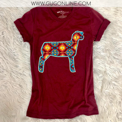 Star of the Stock Show Aztec Show Lamb Short Sleeve Tee Shirt in Maroon