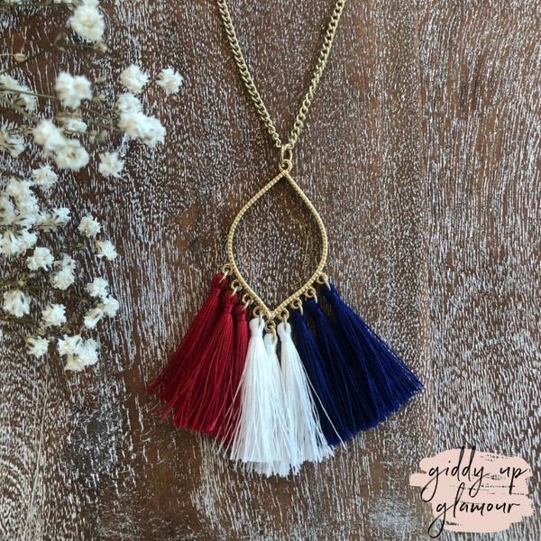 Gold Chain Lantern Outline Necklace with Fringe Tassels in Red, White & Blue