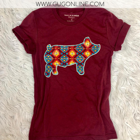 Star of the Stock Show Aztec Show Pig Short Sleeve Tee Shirt in Maroon