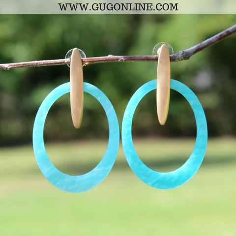 Worth It All Oval Statement Earrings in Turquoise and Gold