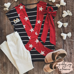Baby You're A Firework Stripe Short Sleeve Top with Star Print Open Back in Navy Blue