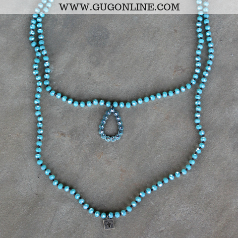 Pink Panache Long Turquoise Crystal Necklace with Turquoise Teardrop with ST Crystals
