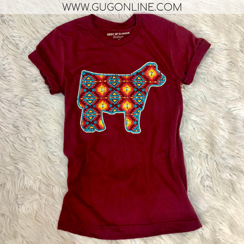 Star of the Stock Show Aztec Show Steer Short Sleeve Tee Shirt in Maroon