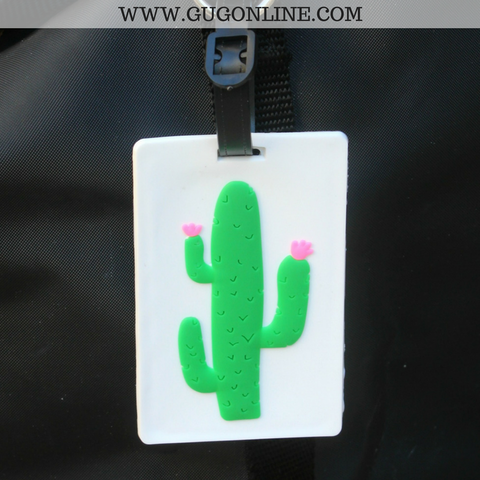 Cactus Luggage Tag on White
