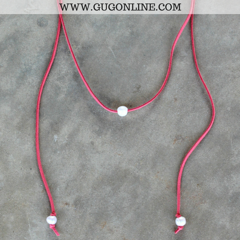That's a Wrap Long Leather Necklace with Pearls in Coral