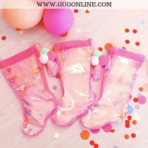Clear Pink Iridescent Christmas Stocking with Pom Poms