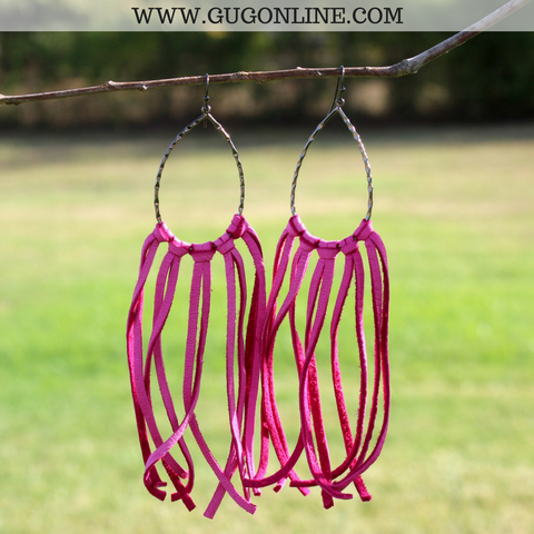 Fringe Leather Teardrop Earrings in Hot Pink