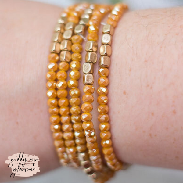 Set of 5 Crystal Bracelets with Gold Beads in Mustard