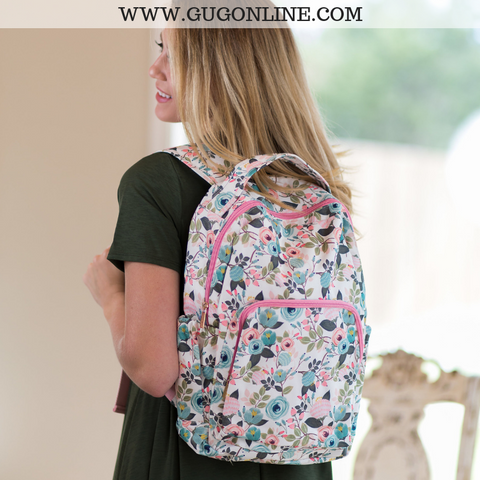 The Jentry Floral Backpack in Ivory
