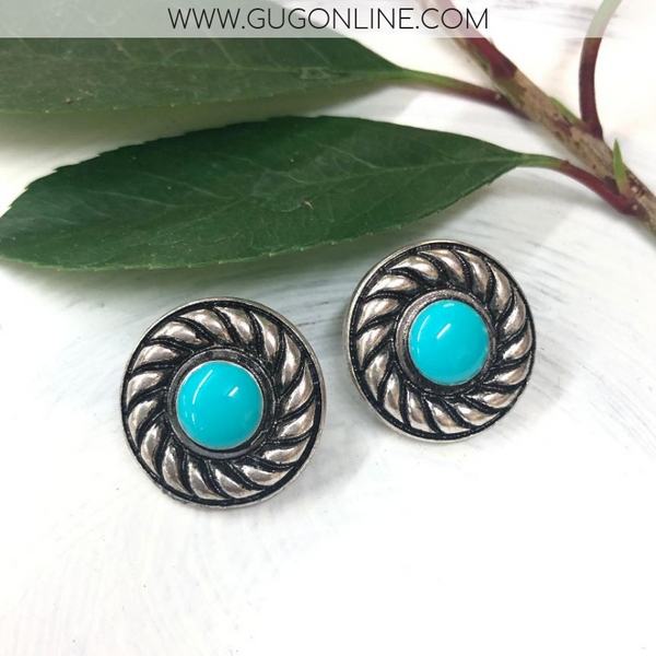 Silver and Turquoise Stud Earrings with Rope Edges