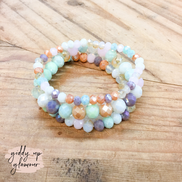 Set of Three Crystal Bracelets in Multicolor Pastels