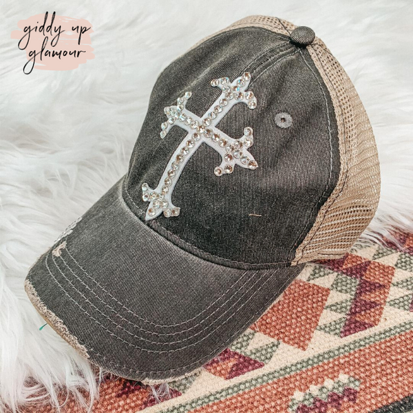 Grey Distressed Baseball Cap with Clear Swarovski Crystal Cross