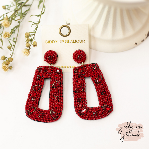 Seed Bead Rectangle Drop Earrings with Crystals in Burgundy
