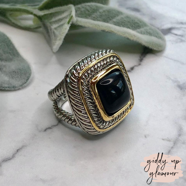Designer Inspired | Large Two Toned Ring with Black Stone