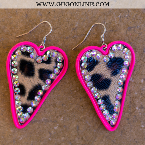 Leopard Heart Earrings with AB Crystals in Pink