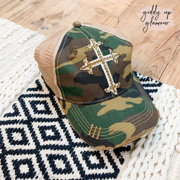 Camouflage Baseball Cap with Brown Swarovski Crystal Cross
