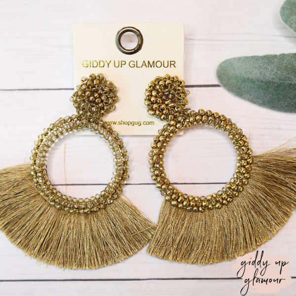 Seed Bead Circle Hoops with Fan Fringe Trim in Gold