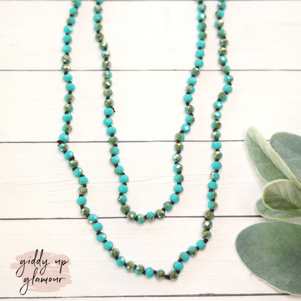 60 Inch Long 6 mm Layering Crystal Strand Necklace in Turquoise and Brown