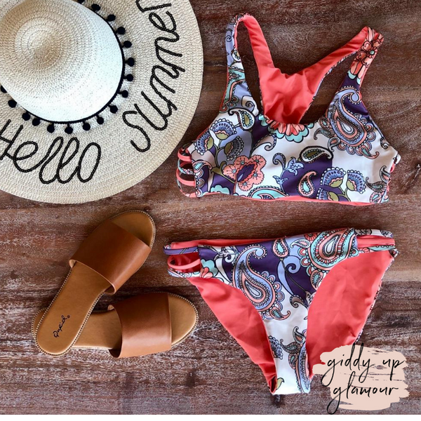 missy swimwear boutique trendy affordable paisley print coral fabric swimsuit bikini swimwear