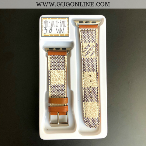 Repurposed LV Damier Azur Apple Watch Bands - 38MM