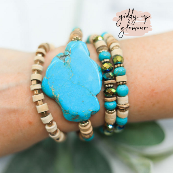 4 Piece Crystal and Wood Bracelet Set with Turquoise Slab Pendant