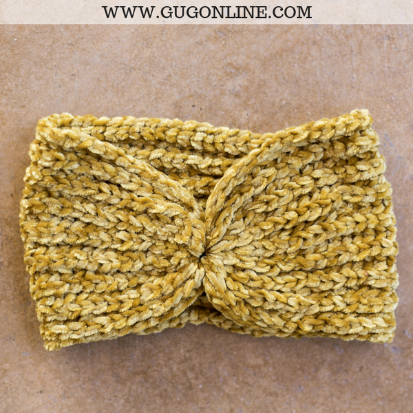 Chenille Headwrap in Mustard