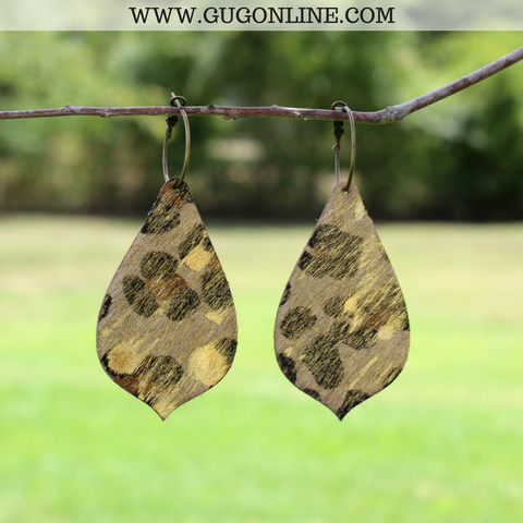 Gold Acid Wash Leopard Hair On Hide Leather Earrings