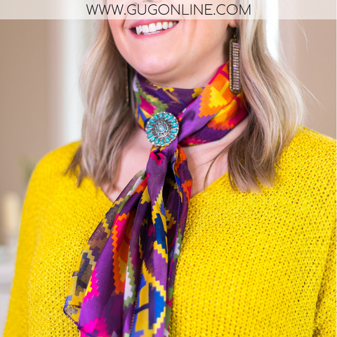Top of the Tie  Geometric Aztec Scarf in Purple