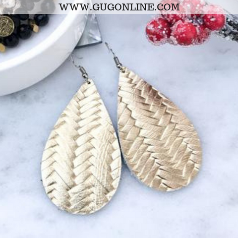 Braided Leather Teardrop Earrings in Gold