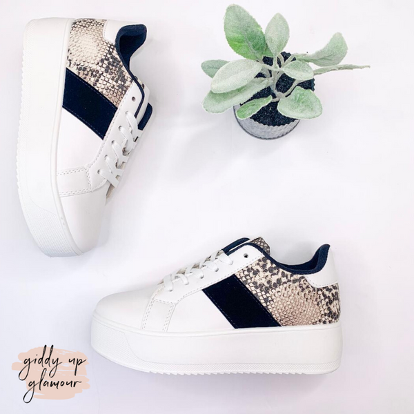 Chasing Chic Platform Sneakers in White Snake