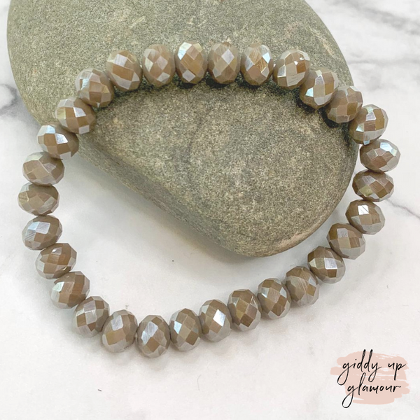 Crystal Beaded Stacker Bracelet in Taupe
